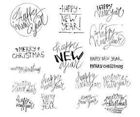 Happy New 2018 Year. Holiday illustration with lettering composition. Hand drawn Merry christmas and Happy new year lettering.