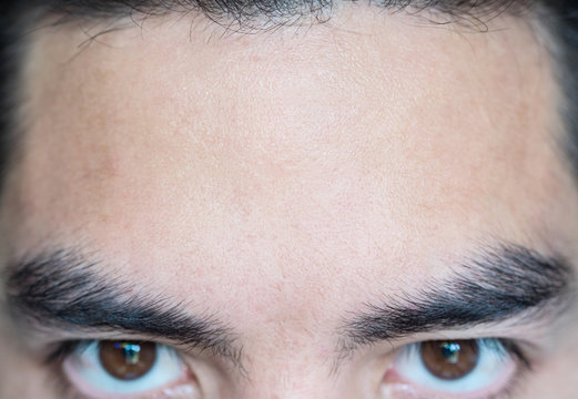 Closeup forehead for message or background/texture. copyspace, People asia.