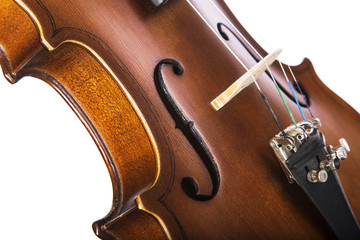 Close-up of Violin, Viola on White Background