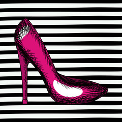 magenta heel shoe sketch in pop art on black striped background