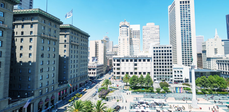 SAN FRANCISCO - AUGUST 5, 2017: Aerial view of Union Square skyline on a sunny day. The city attracts 20 million people annually