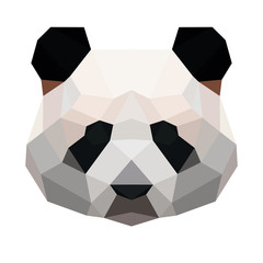 Vector polygonal panda isolated on white. Low poly bear illustration. Color vector simple animal image.