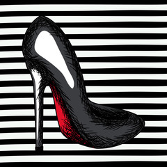 black heel shoe sketch in pop art on black striped background