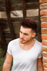 Attractive guy with white t-shirt