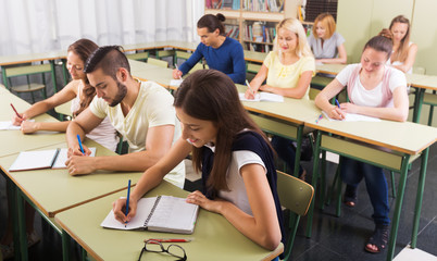 Young students studying in the classroom