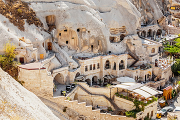 Foto op Aluminium Turkije Cappadocia hotels carved from stone rock, cave style