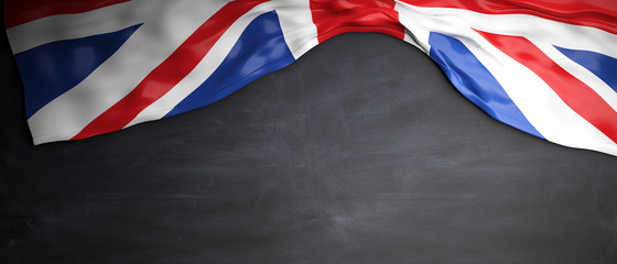 Great Britain flag placed on blackboard background with copyspace. 3d illustration