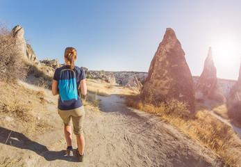 Young happy tourist woman travel at Cappadocia, Turkey.