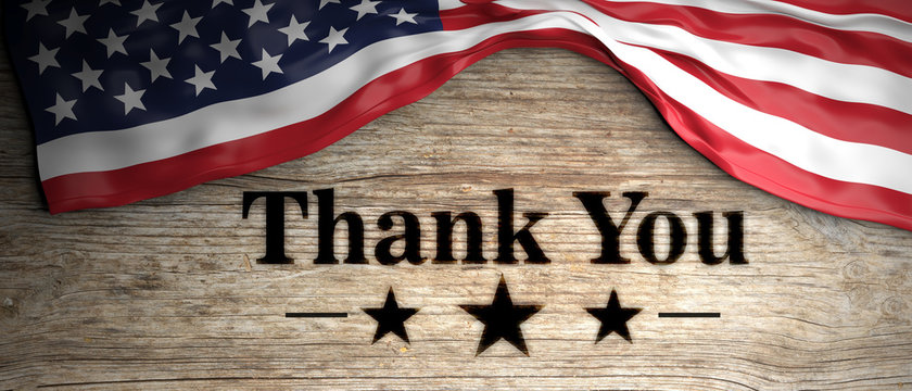 United States flag with thank you patriotic message placed on wooden background. 3d illustration