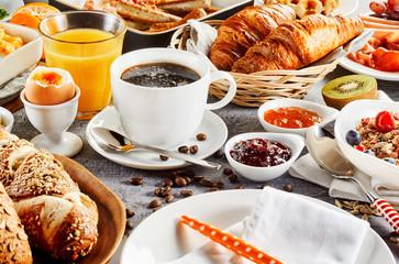 Morning breakfast food set on table