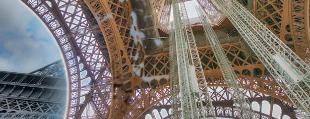Fototapete - Internal metallic structure of Eiffel Tower in Paris - France