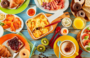 Colorful healthy selection of food for breakfast