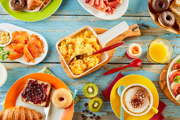 Wholesome variety of breakfast foods on a table