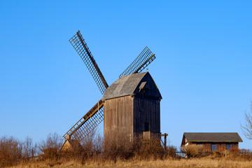 Spoed Fotobehang Molens Bockwindmühle von Pudagla auf Usedom
