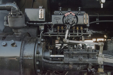 Steam locomotive detail closeup