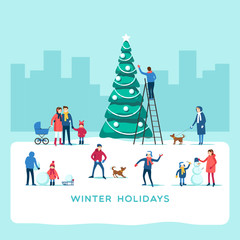 Winter holidays. Snowy street. Vector illustration.