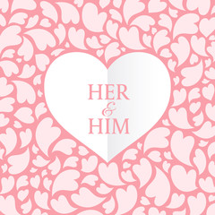 Her and him text in White heart and pink heart abstract background vector art design for wedding card or valentine's day