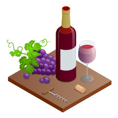 Isometric Bottle of red wine, bunches of wine grapes and glass of red wine. Vineyard grape icon isolated on white background, vector illustration