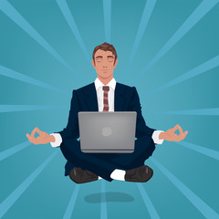 Calm businessman or manager hovers in air, sitting in lotus pose with closed eyes, laptop on his feet. In the background, divergent rays. Simplistic realistic style