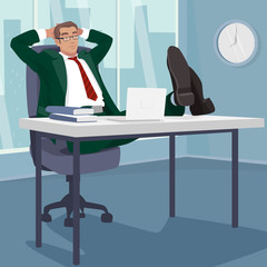 Carefree businessman or manager relaxed in workplace. Man sleeps at table in modern office. Break or Siesta concept. Simplistic realistic style