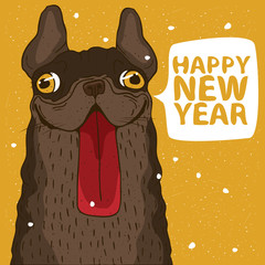 Funny portrait of cheerful dog, French bulldog, color of the earth on yellow background. Inscription Happy New Year. Zodiac sign of 2018 on the Chinese calendar concept