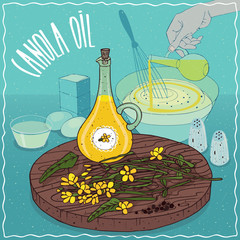 Glass Pitcher of Canola oil and flowers and seeds of Canola plant. Hand pouring oil into bowl. Natural vegetable oil used for cooking