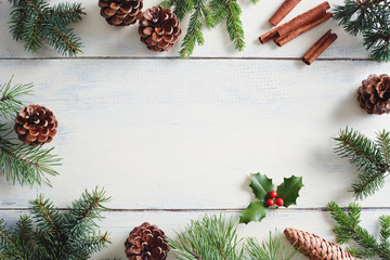 Wall Mural - Christmas background with Christmas decorations on wooden white table.