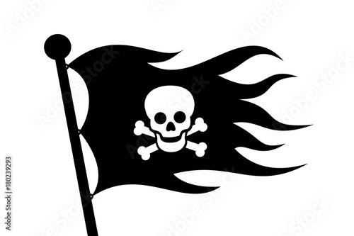 Wavy Black Pirate Flag With Bone And Skull Is On The Flagpole