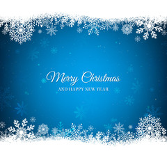 Blue Christmas background with white snowflakes border