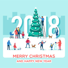 Snowy street. Urban winter landscape with people. Merry Christmas and Happy New Year greeting card. Holidays banner. Vector illustration flat design.