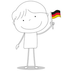 Boy waving German flag, cartoon style illustration