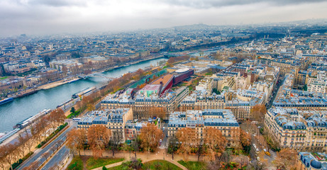 Wall Mural - Paris aerial skyline with Seine river on a cloudy winter day, Fr