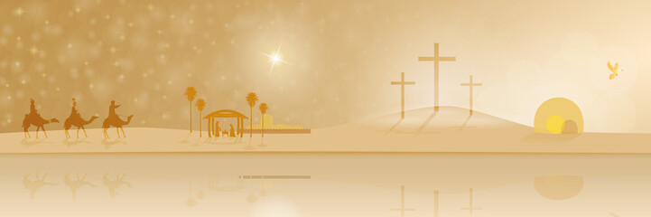 The life of Jesus. Holy three kings, the manger, the cross of Golgotha and the empty tomb in a panorama.