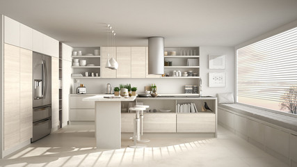 Modern wooden kitchen with wooden details and panoramic window, white minimalistic interior design, sunset sunrise panorama