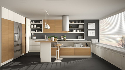 Modern wooden kitchen with wooden details and panoramic window, white and gray minimalistic interior design, sunset sunrise panorama