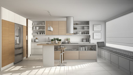 Unfinished project of of modern wooden kitchen with wooden details and panoramic window, white minimalistic interior design