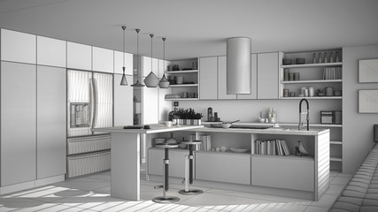 Unfinished project of of modern wooden kitchen with wooden details, white minimalistic interior design