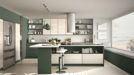 Modern wooden kitchen with wooden details and panoramic window, white and green minimalistic interior design, sunset sunrise panorama