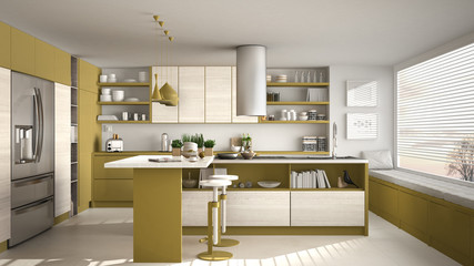 Modern wooden kitchen with wooden details and panoramic window, white and yellow minimalistic interior design, sunset sunrise panorama