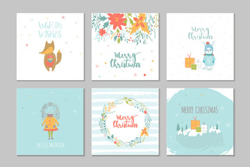 Collection of 6 Merry Christmas cute greeting card with animals, presents and lettering.