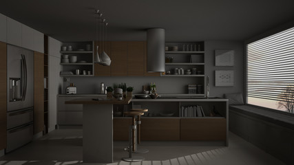 Modern wooden kitchen with wooden details and panoramic window, white minimalistic interior design, night scene