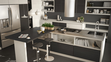 Modern wooden kitchen with wooden details, close up, island with stools, white and gray minimalistic interior design