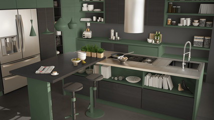 Modern wooden kitchen with wooden details, close up, island with stools, gray and green minimalistic interior design