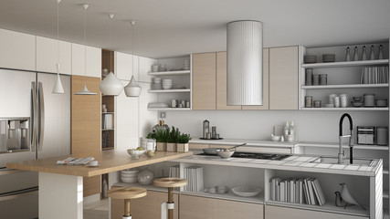 Unfinished project of modern wooden kitchen with wooden details, close up, island with stools, minimalistic interior design