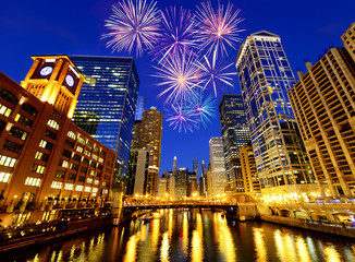 Printed roller blinds Chicago Fireworks over Chicago skyscrapers, United States