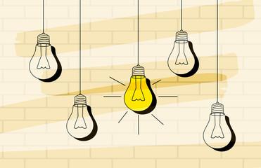 Vector light bulb icon with concept of idea.