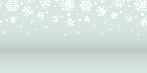 Abstract silver and white snowflakes christmas background, vector illustration