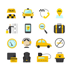 Taxi app flat icons set. Vector travel symbols collection.