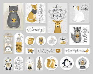 Fototapete - Christmas cards and gift tags set, hand drawn style.