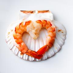 Shrimp with heart shape